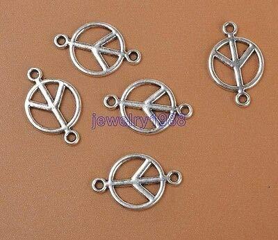 FidgetGear 100pcs Tibetan Silver Peace Sign Symbol Connectors Accessories 17x11mm ()