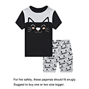 Family Feeling Baby Girls Cat Snug-Fit Pajamas Short Sets 100% Cotton Grey Pjs Clothes Infant Kid 18-24M