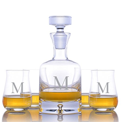 Personalized Ravenscroft Lead-free Crystal Taylor Whiskey Liquor Decanter with 4 Single Malt Scotch Whisky Glasses Engraved & Monogrammed - Great Gift for Mother's Day, Weddings and Groomsmen