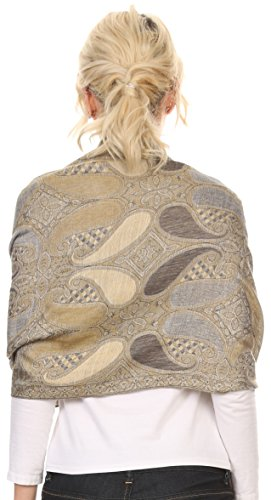 Sakkas 16124 - Raeste Long Wide Tassel Multi Colored Paisley Pashmina Shawl / Wrap - Grey - OS
