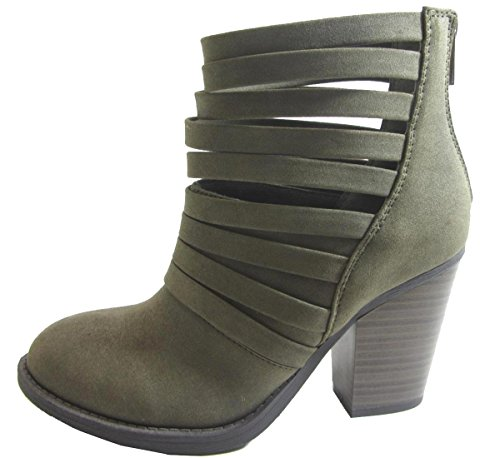 Strappy Stacked out US Ankle Bootie Khaki 's 55 Chunky Cut Black M Women Soda Kelly xOXqY8I