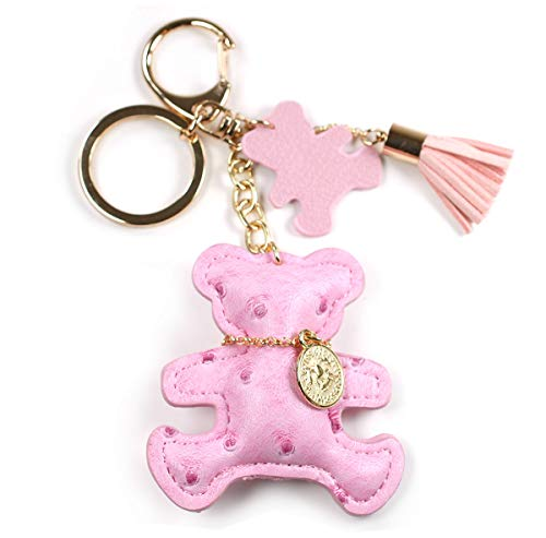 Faux PU Leather Bear Cat Giraffe Dog Keychain Textile Tassel Handbag Key Charm Ring Pendant Chain (Bear Light Pink)