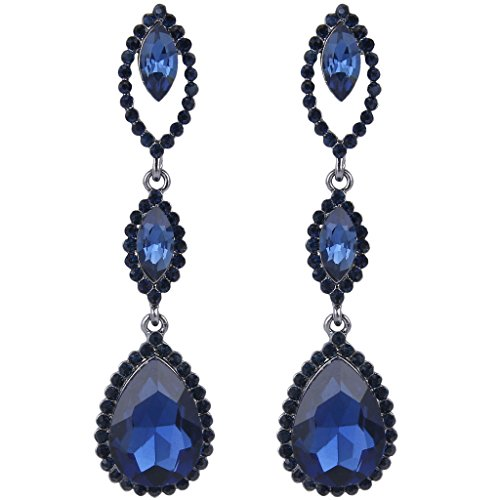 hinestone Crystal Marquise Shape Teardrop Pierced Dangle Earrings Blue Black-Tone ()