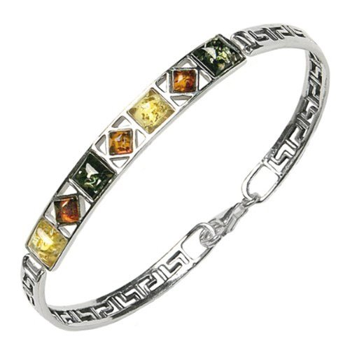 Multicolor-Amber-Sterling-Silver-Square-Bangle-Bracelet-7
