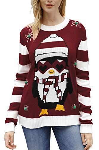 Sovoyontee Women Penguin Knit Ugly Christmas Sweater Red-Penguin Medium -