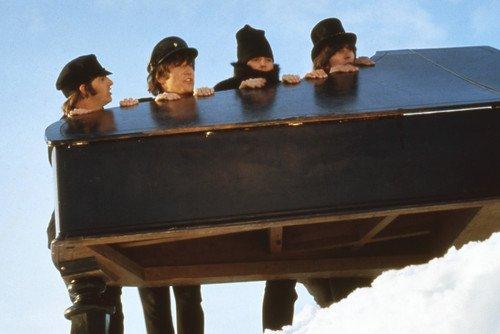 Starr Piano - The Beatles Johh Lennon Paul McCartney Ringo Starr George Harrison holding piano in snow 24x36 Poster