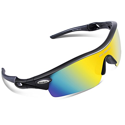 RIVBOS 805 POLARIZED Sports Sunglasses with 5 Set Interchangeable Lenses for Cycling - For Sports Women Sunglasses
