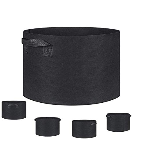 KinHwa Plant Grow Bags Thickened Non-Woven Aeration Fabric Pots with Handles Garden Bags to Grow Flowers Vegetables 5 Pack 10 Gallon Colour - Black by KinHwa
