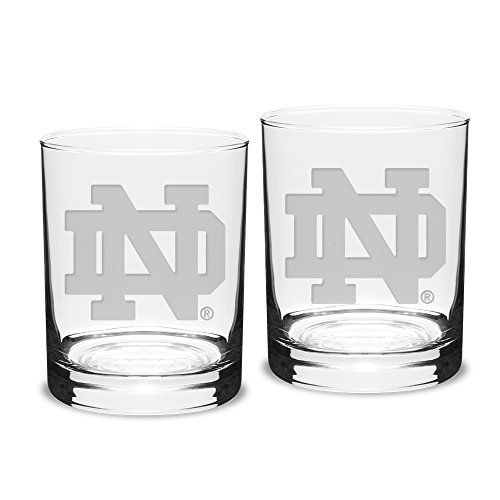 NCAA Notre Dame Fighting Irish Adult Set of 2 - 14 oz Double Old Fashion Glasses Deep Etch Engraved, One Size, Clear