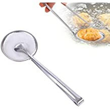 Multi-functional Filter Spoon With Clip Food Kitchen Oil-Frying Salad BBQ Filter Longay Scoop Colander Filter Spoon Ladle Strainer Spoon Soup Ladle Spoon (B)