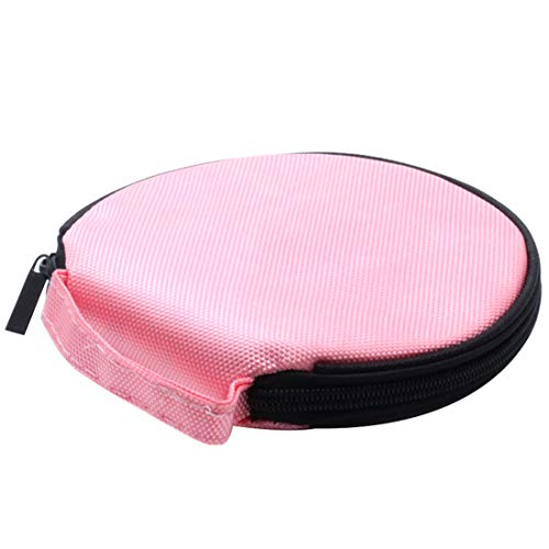 AUTUT Portable Round 20 CD DVD Disc Holder Storage Carrying Case Bag Carrying Case Bag Pink