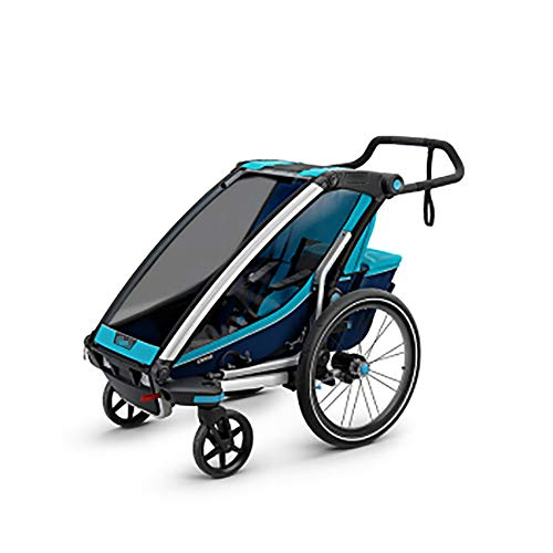 Bishelle-baby 360 Swivel 2-in-1 Double Child Two-Wheel Bicycle Cargo Trailer and Jogger with 2 Safety Harnesses Converts…