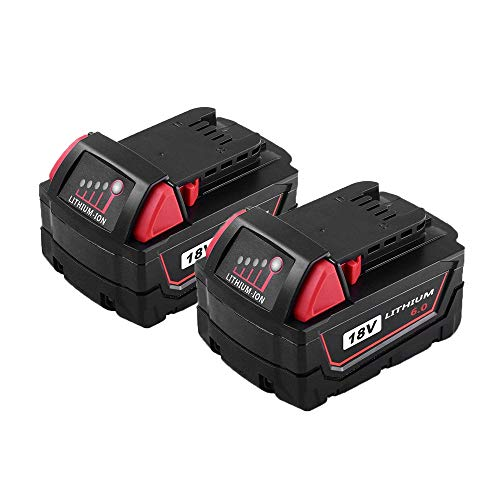 2-Pack 18v 6.0ah Li-Ion Battery, Replacement for Milwaukee 48-11-1890 48-11-1860 48-11-1850 48-11-1840 48-11-1820 48-11-1815 18-volt Cordless Power Drill Tools -  MASIONE, M18 6000mah Battery