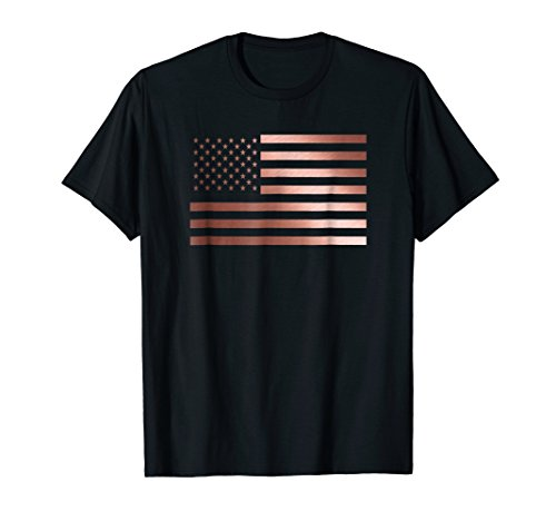Rose Gold USA Flag, Cute T-Shirt Gift Idea 4th of July Tee