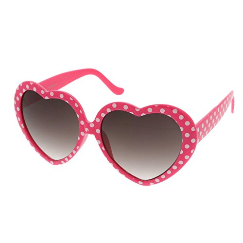 zeroUV - Women's Oversize Neutral-Colored Lens Heart Shaped Sunglasses 55mm (Pink-White Dots / - Shaped Oversized Heart Sunglasses
