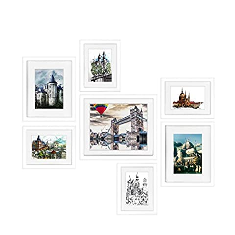 BOJIN Picture Frames Set, 7-Piece Wood Photo Frames, One 10X12 (8X10 matted), Two 8x10 ( 5x7 matted) Four 6x8 (4x6 matted) for Wall Corridor Family Room Art Decoration - Frame One Light