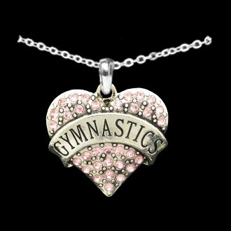 GYMNASTICS Engraved 18' Heart Necklace is Embellished with Pink Crystal Rhinestones. Perfect Gift for the Female Gymnast