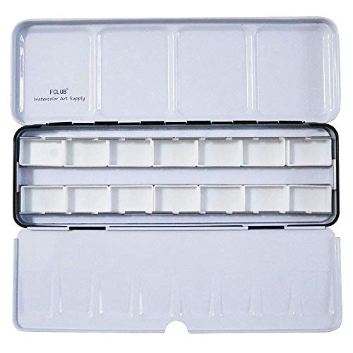 (FCLUB Empty Watercolor Tins Palette Paint Case - Tin Box with 14 Full Pans)