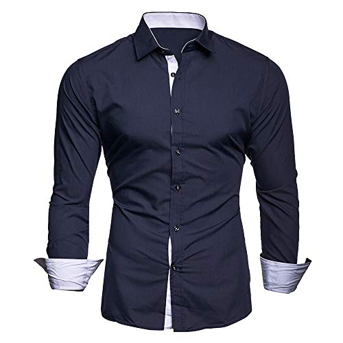 (Baiggooswt Men Shirts Men's Autumn Casual Formal Solid Slim Fit Long Sleeve Dress Top Blouse)