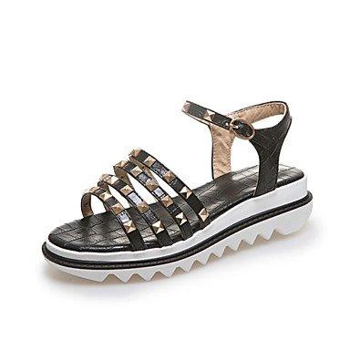 LvYuan Mujer-Tacón Plano-Confort Innovador Zapatos del club-Sandalias-Vestido Informal-Semicuero-Negro Blanco Plata Oro White