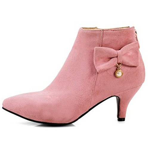 Pink Femmes Elegant COOLCEPT Bottine Avce Heel Fermeture Pointu Kitten Eclair OPw7q1zx