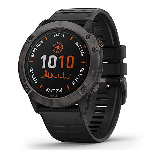 Garmin Fenix 6X Pro Solar (Gray DLC with Black Band) Gift Box Bundle | +HD Screen Protectors, PlayBetter Portable Charger, Car/Wall Adapters & Protective Case | Multisport Fitness Watch