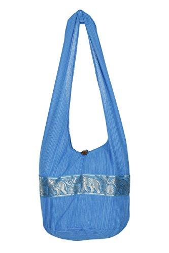 diseño de viaje Sky Gypsy Boho nbsp;– Thai Stripe Blue elefante de algodón de hombro Sling nbsp;– hippy nbsp;100 bolsa nbsp;playa mano bolsa bolso SnXRaagqxI