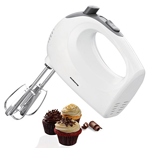 Ovente 5-Speed Ultra Power Hand Mixer with FREE Storage Case, White (HM151W)