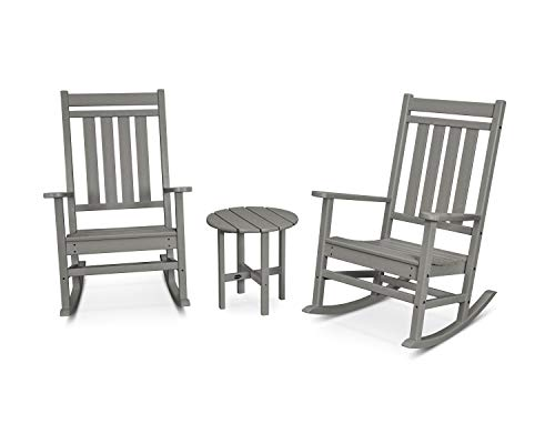 POLYWOOD Plantation Rocking Chair Set, Slate Grey