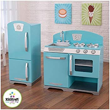 blue retro play kitchen refrigerator