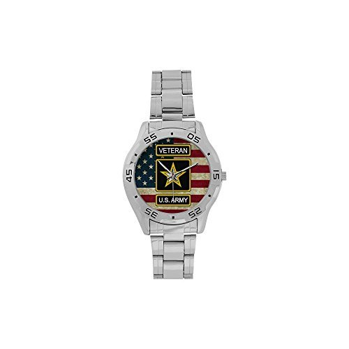 Special Design Military US Army Veteran and American Flag Custom Men's Stainless Steel Analog Watch Sliver Metal Case, Tempered -