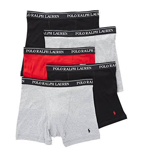 (Polo Ralph Lauren Classic Fit 100% Cotton Boxer Briefs - 5 Pack (RCBBP5) L/Andover/Red/Black)