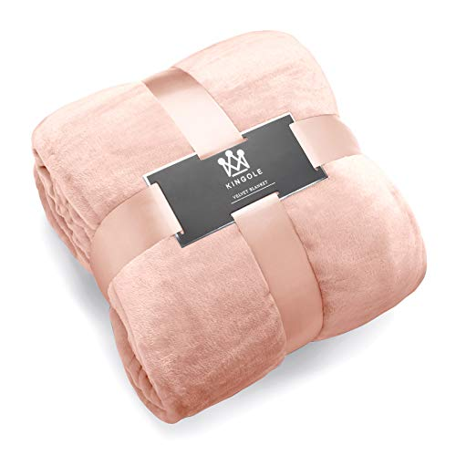 (Kingole Flannel Fleece Microfiber Throw Blanket, Luxury Timid Pink Queen Size Lightweight Cozy Couch Bed Super Soft and Warm Plush Solid Color 350GSM (90