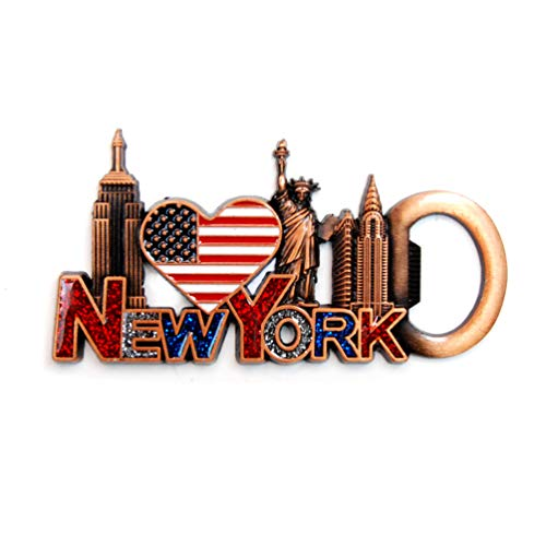 NY Magnet Heart Shaped US Flag New York Souvenir - US Flag,Statue of Liberty,Flatiron, NYC Magnet Metal (Pack 1) ()