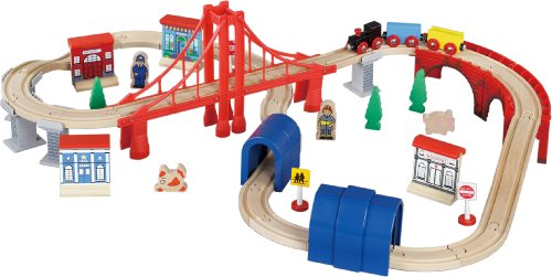 Maxim Enterprise Inc Wooden Train Set, 60-Piece