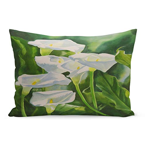Lilies Calla Bordered (Emvency Throw Pillow Covers Calla Lilies Composition Watercolor Painting of White Green Leaves Pillow Case Cushion Cover Lumbar Pillowcase Decoration for Couch Sofa Bedding Car 20 x 30 inchs)