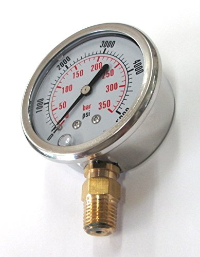 PG 5000-5000 PSI 2-1//2 Diameter Bottom Mount Pressure Gauge