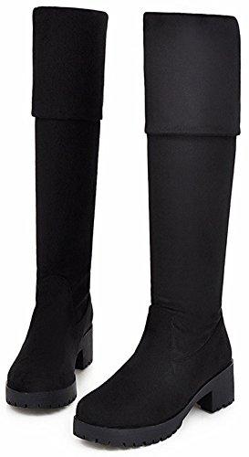 Round Heeled Mid Booties Block Side Over Knee Women's Sweet Zipper High Easemax Black Toe g0R8wIfRn