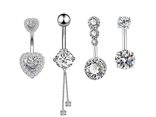 (14G Surgical Steel Belly Button Rings Round/Love Heart Clear CZ Navel Curved Barbell Studs Sexy Body Piercing 4 Pcs A Set)