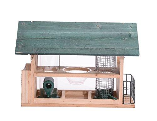 Cedar Wood Deluxe Green Bird House Feeder w// Multi Perch /& Feeding Compartments