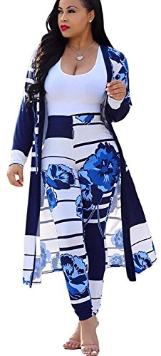 Women 2 Piece Outfits Striped Floral Print Open Front Cardigan and Pants Set