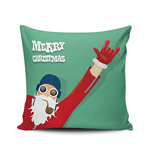 (XIUBA Throw Pillow Covers Case Rock N Roll Santa Claus with Smoking Pipe Decorative Pillowcase Cushion Cover 18X18 Inch Square Size Double Sided Design Printed)
