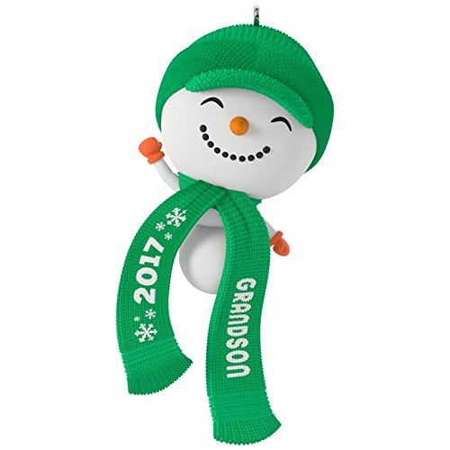 Hallmark Keepsake 2017 Cute Snowman Grandson Dated Christmas Ornament (Snowman Collection Ornament)