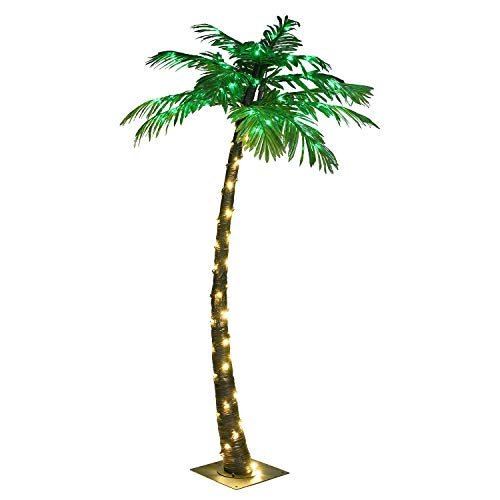 LIGHTSHARE 5FT Artificial Lighted Palm Tree, 56LED Lights, Decoration for Home,Party, Christmas, Nativity, Outside Patio (Palm Fiber Tree Optic)