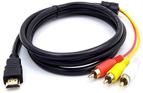 NancyMissY 黒の高品質電源コードと3本のRCA 1.5mケーブルへの延長ケーブル、高解像度TVコンバーターケーブル