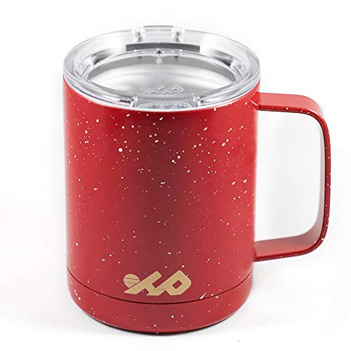 (Highland Peak Insulated 12oz Camping Mug with Handle - Travel Cup Tumbler with Lid - Ideal for Backpacking, Outdoors, Hiking - Lightweight Double-Walled Vacuum Mug for Hot & Cold Beverages (Red))