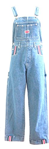 Revolt Women Carpenter Jeans Red White Blue Stripe Overalls (M)