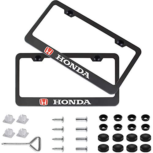 Fubai Auto Parts 2pcs Stainless Steel License for Honda Plate Frame with Screw Caps Cover Set, Matte Black