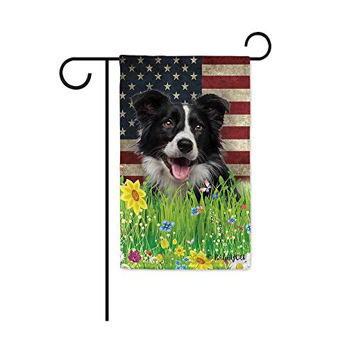(BAGEYOU Cute Puppy Border Collie Garden Flag Lovely Pet Dog American US Flag Wildflowers Floral Grass Spring Summer Decorative Patriotic Banner for Outside 12.5x18 inch Printed Double Sided)