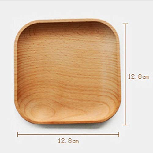 Wooden Square Plate Food Fruit Dish Snack Serving Tray Salad Bowl ()